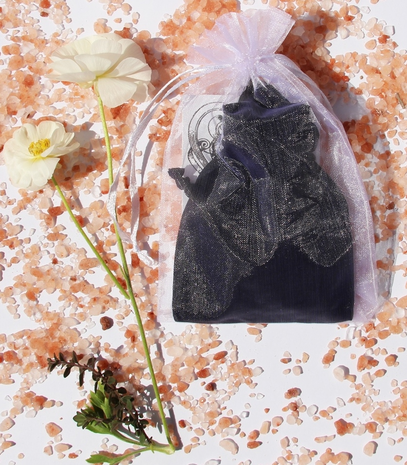 Black Satin Charmed Pouch with Blessing