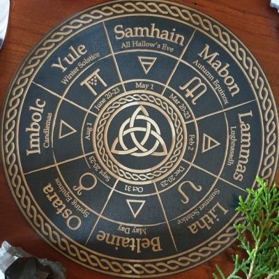 Black Triquetra Pagan Calendar plaque
