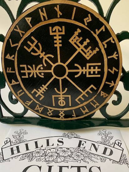 black viking vegvisir disc coaster